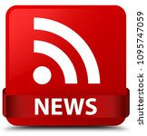 news  rss icon  isolated on red ...   Shutterstock . vector #1095747059