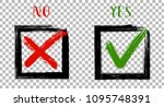 green painted ok symbol and red ... | Shutterstock .eps vector #1095748391