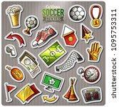 set of soccer cartoon stickers. ... | Shutterstock .eps vector #1095753311