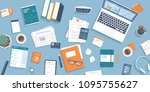 workplace desktop background.... | Shutterstock .eps vector #1095755627