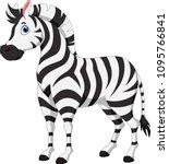 cute zebra cartoon isolated on... | Shutterstock .eps vector #1095766841