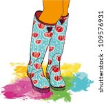 Bright Rain Boots With Pattern...