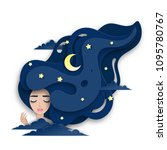 vector portrait of sleeping... | Shutterstock .eps vector #1095780767