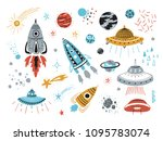 space vector set with cartoon... | Shutterstock .eps vector #1095783074