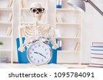 skeleton businessman working in ... | Shutterstock . vector #1095784091
