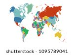 color world map  | Shutterstock .eps vector #1095789041