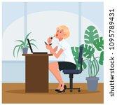 lazy secretary doing makeup at... | Shutterstock .eps vector #1095789431