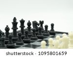 chessboard with a chess piece... | Shutterstock . vector #1095801659