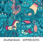 kids background with fantastic... | Shutterstock .eps vector #1095813251