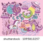 vector print with fantastic... | Shutterstock .eps vector #1095813257
