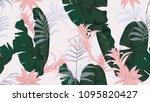 floral seamless pattern  green... | Shutterstock .eps vector #1095820427