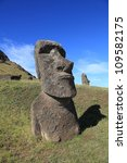 Ancient Moai statues on Easter Island in the Pacific Ocean off the coast of Chile - stock photo