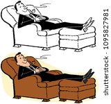 a man relaxing in a lounge... | Shutterstock .eps vector #1095827981