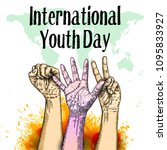 international youth day design... | Shutterstock .eps vector #1095833927