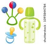 baby rattle  nipple  bottle ... | Shutterstock .eps vector #1095844784