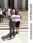 Small photo of New York, NY - May 21, 2018: NYC Council Speaker Corey Johnson endorsed city Public Advocate Letitia James for New York State attorney general on New York State Supreme Court Steps