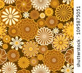 golden orange circle daisy... | Shutterstock . vector #1095875051