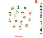 oktoberfest beer festival. long ... | Shutterstock .eps vector #1095885065