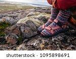 legs in socks with beautiful...   Shutterstock . vector #1095898691