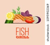 grilled fish. delicious grilled ... | Shutterstock .eps vector #1095902369