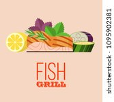 grilled fish. delicious grilled ... | Shutterstock .eps vector #1095902381