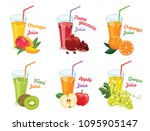 glasses with juice isolated on... | Shutterstock .eps vector #1095905147