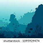 underwater ocean life  ...   Shutterstock .eps vector #1095929474