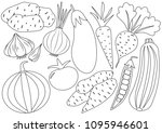 vegetables cartoon set  icons....