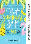 summer sale banner with cut... | Shutterstock .eps vector #1095954125