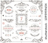 ornate design elements set.... | Shutterstock .eps vector #1095959654