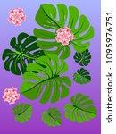 vector summer tropical pattern... | Shutterstock .eps vector #1095976751