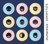 set of 9 laughing filled icons... | Shutterstock .eps vector #1095977375