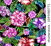 tropical vivid pattern floral... | Shutterstock . vector #1095980771