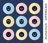set of 9 unhappy filled icons...   Shutterstock .eps vector #1095981365