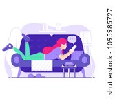happy young woman on sofa with... | Shutterstock .eps vector #1095985727