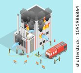 firefighter and building on... | Shutterstock .eps vector #1095986864