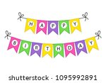 cute happy birthday bunting... | Shutterstock .eps vector #1095992891