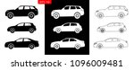 Stock vector car type and model objects icons set vector black illustration isolated on white background 1096009481