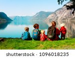 happy tourist family with kids... | Shutterstock . vector #1096018235