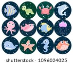 cute sea animals. flat design. | Shutterstock .eps vector #1096024025