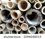 Small photo of The cut bamboo is cut into pieces.