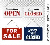 open and closed signs set... | Shutterstock .eps vector #1096044341
