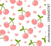 cherry pattern  cute heart... | Shutterstock .eps vector #1096045787