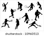 silhouette of athlete of tennis ... | Shutterstock .eps vector #10960513