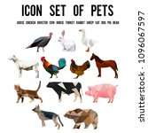 vector flat collection of pets ... | Shutterstock .eps vector #1096067597