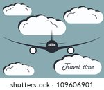the airplane in the sky with... | Shutterstock .eps vector #109606901