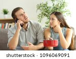 desperate couple callling to... | Shutterstock . vector #1096069091