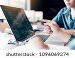 teenagers develop programming...   Shutterstock . vector #1096069274