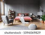 spacious bedroom interior with... | Shutterstock . vector #1096069829