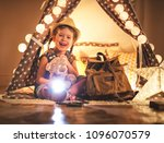 funny happy child girl tourist... | Shutterstock . vector #1096070579